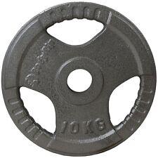 "Olympic Tri Grip Cast Iron Weight Plate Discs 1 x 10kg │ 2"" Hole Gym by BodyRip"