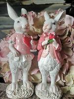 2 x Hasen Rosa Pink Osterhasen Weiß Hase 20 cm Figur Osterdekoration Ostern Hase
