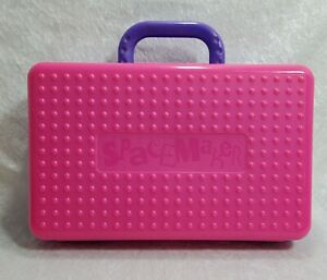 Vintage SpaceMaker Pencil Box Pink  and Purple 90's Retro  with handle...