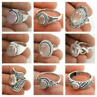 Natural Rose Quartz Gemstone Ring Size 7 925 Sterling Silver Handmade Jewelry G2