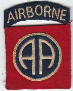 Original WWII US Army 82nd Airborne Division Patch - Attached Tab, British-made