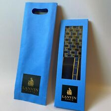 Lanvin Paris Silk Tie & Pocket Square Made in France Navy Gold Print New