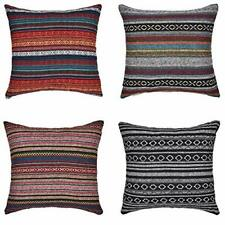 """Pillow Covers Cases Set of 4 18"""" x 18"""" Striped Colorful Shabby Chic Farmhouse"""
