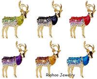 Lucky Crystal Deer Animal Brooch Pins Gold Fashion Jewellery Christmas Xmas Gift