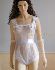 weises Body Romper transparent aus nylon für AB Sissy Zofe