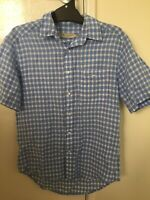 R.M. Williams Short Sleeve Button Shirt Mens Checked Size Small Blue White