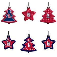 St. Louis Cardinals Shatterproof TREES & STARS Christmas Tree Ornaments 6 pack