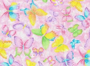 """9"""" REMNANT  GLITTER BUTTERFLIES  PINK CRYSTALLINE  BUTTERFLY  FABRIC TRADITIONS"""