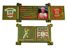 1982 Frank Robinson Cooperstown MLB HOF Bronze Door Pin in Display Box - Reds