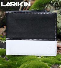 """LARIKIN """"Jailbreak"""" GENUINE LEATHER Mens Wallet Black White Bi Fold Card Holder"""