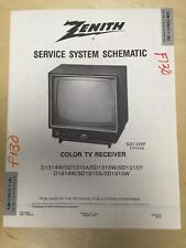 Zenith Service Manual Schematic for D1314W SD1315 A W Y D1914W SD1915 S W  TV mp