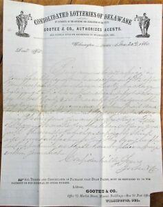 Wilmington, DE 1860 Lottery Letterhead / Advertisement - Delaware