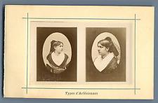 France, Types d'Arlésiennes  Vintage albumen print. Photo collée sur carton
