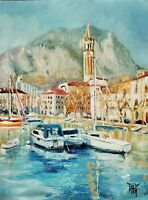 YARY DLUHOS ORIGINAL OIL PAINTING Italy Lake Como Lecco City Port Harbor Boats