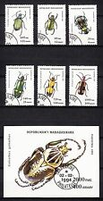 16425/ Madagaska 1994 - Mi 1656/61 u. Bl. 254 - Käfer - o - M€ 6,20
