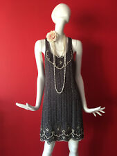 Oasis Vintage Grey Flapper 1920s Gatsby Beaded Sequin Dress Size 10 EUR 36