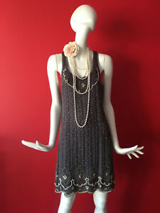 Oasis Vintage Grey Flapper 1920s Gatsby Beaded Sequin Dress Size 14 EUR 40 BNWT