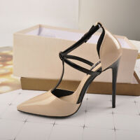 Women's Ankle T-Strap Stiletto Pumps Pointed Toe High Heel Elegant Shoes US5-15