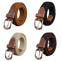 Fashion Men Stripe Belts Casual Belt Pin Buckle Canvas Student Leather Belt FT