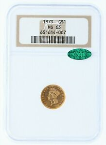 1879 Gold Dollar NGC MS63 G$1 CAC Type 3 Gold Coin