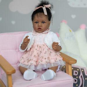 56CM Soft Reborn Toddler Doll Dark Brown Skin Color African American Baby Doll