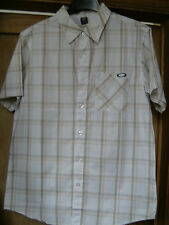 BNWT Men's M Oakley Short Sleeve Shirt. White with Blue & Yellow Check.