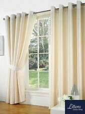 "90"" x 72"" Cream Faux Silk Pair Curtains Eyelet, Ring Top, Lined Inc Tiebacks"