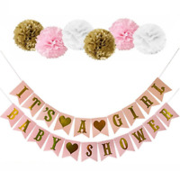 It's A Girl Baby Shower Bunting Party Banner Garland Photo Props Decor Hanging