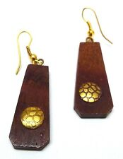 Wooden Ethnic Tribal Wooden Earring- Wood Hook Drop Dangle Long - Rusted Look 11