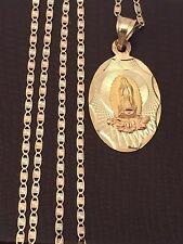 Religious 10k yellow Gold Virgin Mary Pendant 14k Gold Valentino chain 20 INcH