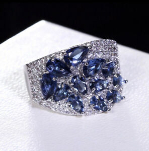 18k White Gold GP Index Ring made w/ Blue Sapphire Swarovski Crystal Stone