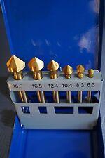 6 tlg. Kegelsenker Set 6,3 - 20,5 mm HSS TiN DIN 335 Senker Entgrater Senkbohrer