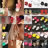 Boho Charm Pearl Women Flower Drop Dangle Earrings Ear Stud Jewelry Double Layer