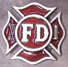 Pewter Belt Buckle Fire Fighter Fireman NEW red