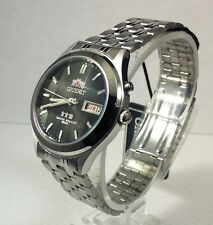 Orient Black Dial Men's 9 Facet Crystal Automatic  Silver Watch  orient Box