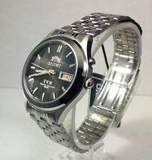 Orient Black Dial Men's 9 Facet Crystal Automatic  Silver Watch  orient Box