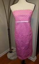 Motherhood Maternity Dress sz M Strapless Pink White Polka Dot Cotton Spandex