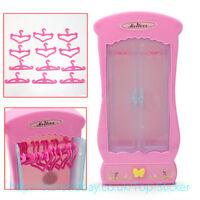 Barbie Doll Princess Furniture Closet Wardrobe 12pcs Clothes Hangers/display