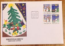 Norway Post FDC 1990.11.23. Christmas Stamps - Snowman & Church - Block of Four