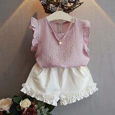 2PCS NEW Toddler Kids Baby Girl Summer Outfit Clothes Shirt Tops+Shorts Pants