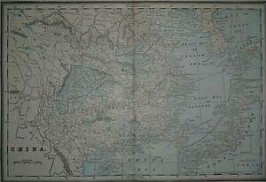 Vintage 1893 Atlas Map ~ CHINA - JAPAN - COREA / KOREA ~ Authentic ~ Free S&H