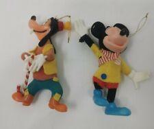 Vtg Pair Disney Mickey Mouse Goofy Plastic Christmas Decorations Hong Kong 70s