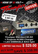 Thumper 60 AH DUAL Battery System Jump Start 12V BONUS 240v Charger + Camp light