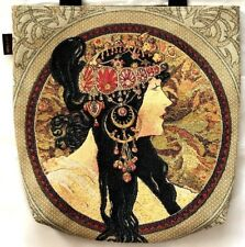 BELGIAN TAPESTRY LARGE SHOPPING TOTE BAG 46CM X 46CM, MUCHA BYZANTINE, TWO SIDED
