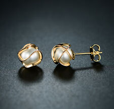 Pearl Cage Stud Earrings Sevil 18K Gold Plated Created