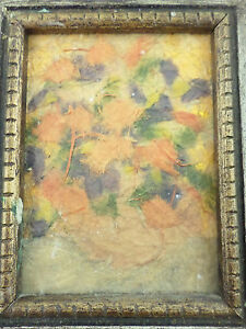 Miniature Mixed Media Abstract Collage Art Still Life Floral Lilly Abbot Hawaii