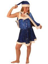 BLUE SEQUIN MISS SANTA DRESS CAPE & HAT LADIES XMAS FANCY DRESS