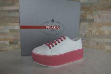 PRADA Gr 38 Plateau Schnürschuhe Sneakers 3E6266 Schuhe weiß pink NEU UVP 550 €