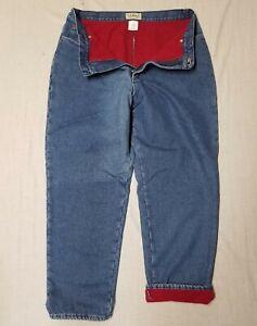 "Women's L.L. BEAN 100% cotton / Polyester fleece LINED JEANS size 18 R 30.5"" ins"