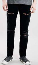 TOPMAN Black Blowout Knee Ripped Skinny Fit Jean 30R 30x32 Cotton Slim NEW